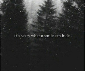 fake smile, forest, and pain image