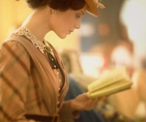 beautiful, book, and lady image