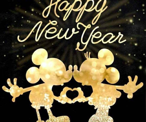 happy new year, mickey mouse, and minnie mouse image