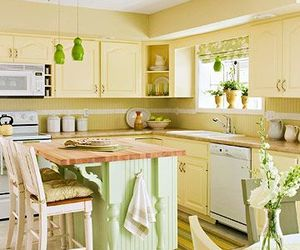 kitchen, green, and yellow image