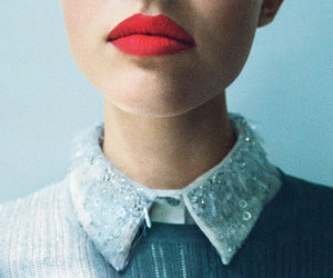 collar, red lips, and lips image