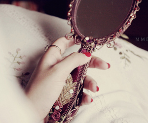 mirror, red, and vintage image