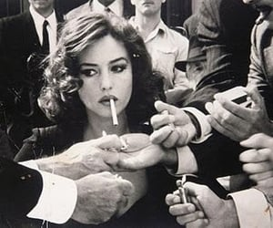 cigarette, woman, and smoke image