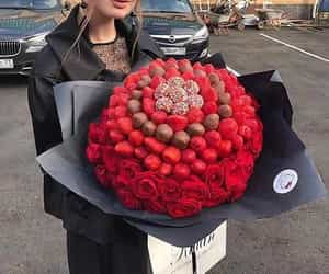 bouquet, chocolate, and flowers image