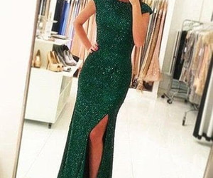 green prom dress, mermaid prom dress, and dress image