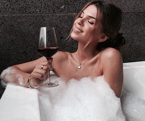 wine, girl, and bath image