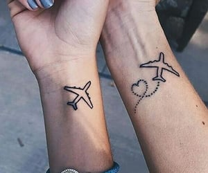 tattoo, plane, and airplane image