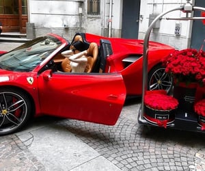 car, flowers, and red image