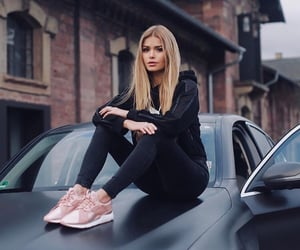 girl, beautiful, and car image