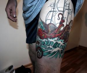 tattoo, leg, and boy image