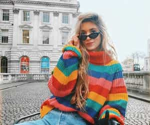 fashion, sweater, and rainbow image