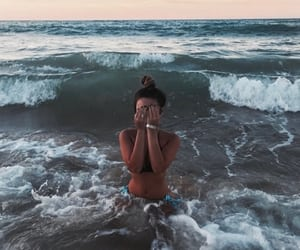 girl, beach, and ocean image