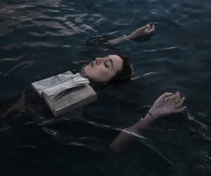 girl, book, and water image