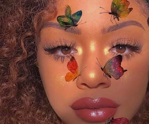 makeup, butterflies, and girl image