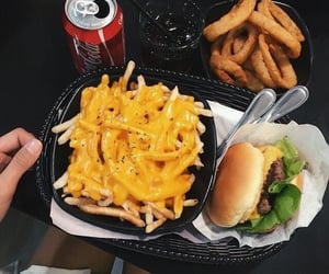 food, fries, and burger image
