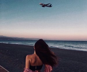 girl, ocean, and plane image