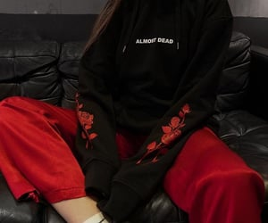 grunge, aesthetic outfit, and black and red outfit image