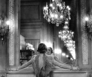 b&w, chandelier, and model image