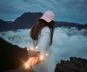lights, couple, and clouds image