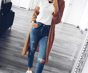 cardigan, ripped jeans, and white top image