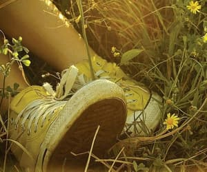 yellow, converse, and flowers image