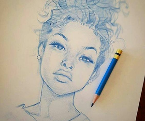 curly, drawing, and cabello rizado image