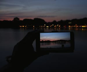 beach, night, and city image