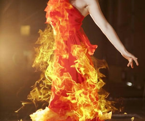 girl on fire and fire dress photo image