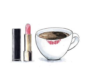 cafe, coffe, and lipstick image