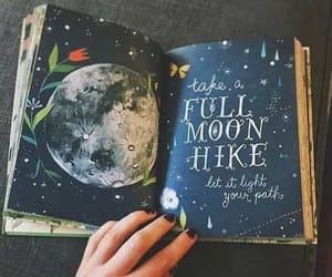 art, moon, and book image