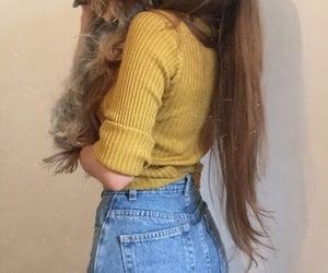 girl, dog, and yellow image