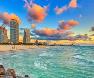 beach, Miami, and sunset image