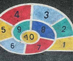 hopscotch, numbers, and spiral image
