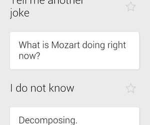 joke, Mozart, and decomposing image