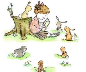 girl, bunny, and rabbit image