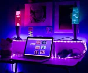 aesthetic, lights, and purple image