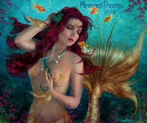fishes, mermaid, and under water image
