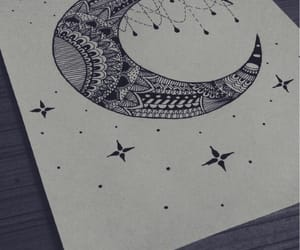 drawing, mandala, and moon image