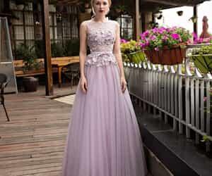 girl, lavender, and long dress image