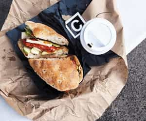 food, coffee, and sandwich image