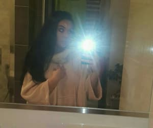 bathroom, blackhair, and mirror image