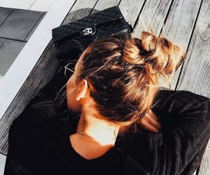 chanel, messy bun, and chic image