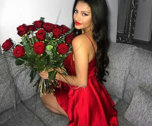beauty, model, and red image