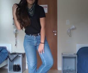 bandana, blackhair, and jeans image