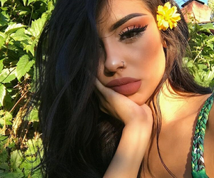 beauty, flower, and lips image