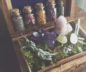 witch, herbs, and stones image
