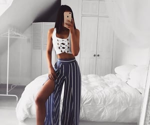outfit, stripes, and style image