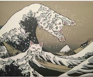 cat, waves, and art image