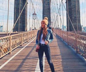 brooklyn bridge, fashion, and girl image