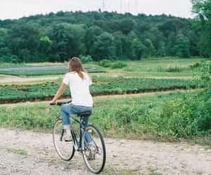 girl, vintage, and bike image